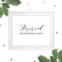 wedding photo - Reserved for Family Set of 2 Signs -Reserved for the Bride's Family -Reserved for the Groom's Family-Custom Wedding Ceremony Signage