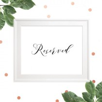 wedding photo - Reserved Wedding Sign-Reserved Table Sign-Reserved Printable Sign-Custom Wedding Ceremony Signage-Wedding Reception Sign