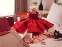 wedding photo - High quality red girl dress princess baby dress flower girl dresses tutu dress wedding birthday winter chrismast dress