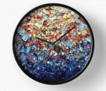 wedding photo - Expressionist Wall Clock, Colorful Rainbow Wall Clock, Wood Framed Clock, Abstract Art Home Decor, Round Clock, Bedroom Decor, Boho Chic
