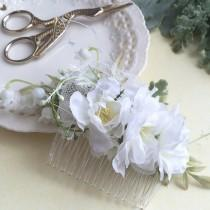 wedding photo - White Bridal Flower Comb-  Floral Headpiece- Wedding Bridal Bohemian Floral Hair Accessory- Cherry blossom flower