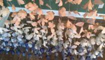 wedding photo - Anthropologie-Inspired Paper Flower Garland Curtain- Peach & Navy Ombre