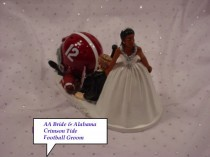 wedding photo - Alabama Crimson Tide University Football Grooms African American Bride College Sports Fun Wedding Cake Topper-CFAA1