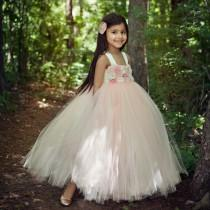wedding photo - Blush Tutu Dress, Flower girl dress, Flower Girl Dresses, Ivory, Blush, Weddings, Girls,