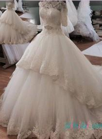 wedding photo - Beautiful illusion lace off shoulder princess ball gown wedding dress