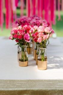 wedding photo - DIY Gold Painted Vases