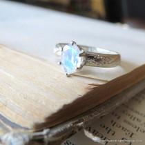 wedding photo - Rainbow Moonstone Ring Alternative Engagement Ring Gemstone Sterling Silver Ring Promise Ring