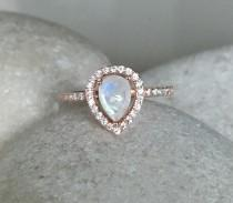 wedding photo - Rainbow Moonstone Engagement Ring- Rose Gold Wedding Ring- Moonstone Promise Halo Ring- June Birthstone Ring- Solitaire Gemstone Ring