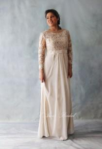 wedding photo - Affordable Fitted Long-Sleeve Light Golden French Lace Bridal Wedding Dress. Light and Comfortable