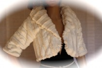 wedding photo - White fur bolero Ivory wedding shrug jacket bridal party reception