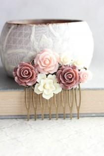 wedding photo - Blush Pink Rose Hair Comb Dark Dusty Rose Floral Collage Romantic Bridal Shabby Country Bridesmaid Gift Summer Wedding Vintage Style