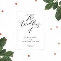 wedding photo -  Rustic Wedding Program-Printable Wedding Program-DIY Flat Wedding Program-Calligraphy Style-Ceremony Wedding Program-Ceremony Order
