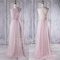 wedding photo - 2016 Pink Mesh Bridesmaid Dress Long, Spaghetti Straps Wedding Dress, A Line Prom Dress, Open Back Evening Gown Floor Length (CS012)