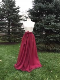 wedding photo - Ultra burgundy Chiffon skirt, any length and color Bridesmaid skirt, floor length, tea length, knee length empire waist chiffon skirt