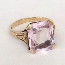 wedding photo - Art Deco Amethyst Ring Antique Large 5ct Stone 10k Gold Setting Light Pink Purple 20s Engagement Ring Big Rectangle 1920s Cushion Cut Sz 6