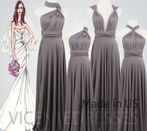 wedding photo - Dark Grey Bridesmaid Dress Long,Bridesmaid Dress Long,Long Grey Dress,Any Occasion Dress,Grey Long Bridesmaid Dress,Gray Dress