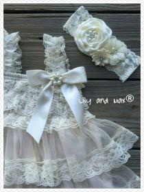 wedding photo - Flower Girl Dress - baby Flower girl dresses - Baby Lace Dress - Rustic Flower Girl dress- Junior Bridesmaid-  Country wedding