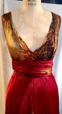 wedding photo - Red gold black green satin plus size wedding dress with sash custom made and hand dyed