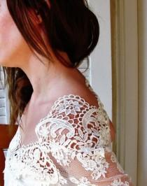 wedding photo - ART NECKLINE White Swan song IVORY bridal French lace top ivory lace blouse bridal bolero jacket wedding bolero