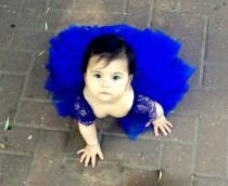 wedding photo - ROYAL BLUE Chantilly French lace and silk tulle flower gilr dress royal blue dress for baby girl royal blue tutu dress royal
