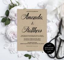 wedding photo - Printable Wedding Invitations - Kraft Wedding Invitation - Editable Wedding Invitation - Editable Text - Downloadable Wedding