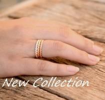 wedding photo - Gold stacking rings, braid stackable ring set, thin stack rings set, gold stack thin rings set yellow white and rose