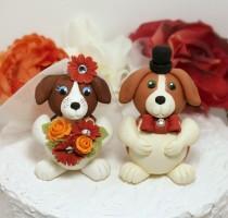 wedding photo - Dog wedding custom cake topper,  beagle bride and groom cake topper, pet cake topper, wedding dogs