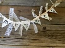 wedding photo - Wedding Cake topper Mr heart Mrs fabric bunting flag or banner