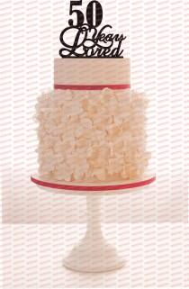 wedding photo - 50th Birthday/Anniversary Cake Topper Personalized 50 Years Loved Cake Topper Removable Spikes and Free Base With Over 25 Different Colors