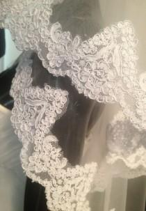 wedding photo - Beautiful embroidered lace veil, ivory veil, white veil. Wedding lace veil
