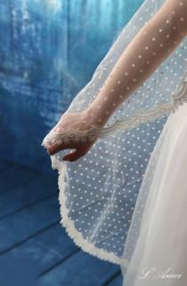 wedding photo - Fingertip Length Polka Dot Lace Tulle Cathedral Mantilla Bridal Wedding Veil with Comb