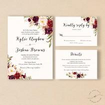 wedding photo - Bohemian Wedding Invitation Suite, Fall Wedding Invitation, Winter Wedding Invite Set, Marsala Burgundy Peach, Rustic Boho Chic Style- Kylie