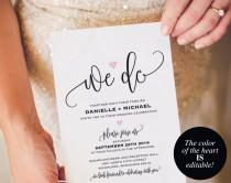wedding photo - We Do Wedding Invitation Template, Heart Wedding Invitation, Wedding Invitation Printable, Wedding Template, PDF Instant Download #BPB322_1