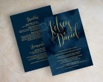 wedding photo - Wedding Invitations - Navy Wedding Invitation - Navy and Gold Wedding Invites - Navy Blue Wedding Invitation - Faux Foil Script - Watercolor