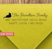 wedding photo - CUSTOM address STAMP from USA for cat Lover, pre inked stamp, Wedding Stamp, rsvp stamp return address stamp with proof, Houesewarming d5-30