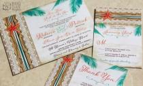 wedding photo - NEW! Two Less Fish in the Sea Tropical Destination Wedding Invitation. Starfish wedding Invitations. Beach destination wedding invitations.