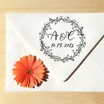 wedding photo - Laurel Circle Monogram Save the Date stamp with date and calligraphy initials