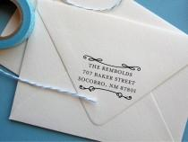 wedding photo - Return address stamp with flourishes, self inking return address stamp, rubber stamp wood handle