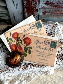 wedding photo - Vintage Postcard  Wedding Save the Date Cards Handmade by avintageobsession on etsy