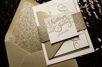 wedding photo - Gold Glitter Letterpress Wedding Invitation, Calligraphy Invitation, Gold Glitter Wedding Invite - Deposit to Get Started