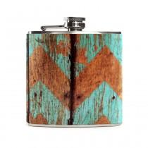 wedding photo - Blue Wood Print Flask, Wooden Chevron Pattern, Rustic Country Outdoor Wedding, Bridesmaid 6oz Hip Flask