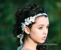wedding photo - Wedding Hair Accessories of Beaded Lace Tie Wedding Headband with Flowers, Wedding Hair Rhinestone Head Piece