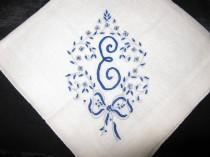 wedding photo - Antique Monogrammed Wedding Handkerchief, Something Blue Initial M, A, E,  D or B Wedding, Bride Vintage Hanky Bridal Something Old