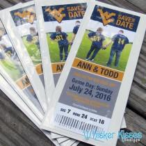 wedding photo - Sports Save The Date, Save The Date Magnet, Photo Sports Ticket, Football, Baseball, Basketball, Soccer, Hockey, College, Team Choice