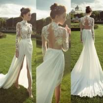 wedding photo - Gorgeous High Neck Long Sleeve See Through Lace Top Side Slit Chiffon Wedding Dress, WD0110
