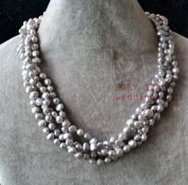 wedding photo - gray pearl necklace,four row 6-6.5 mm gray baroque pearl necklace,twisted gray necklace.real pearl necklace,statement necklace,genuine pearl