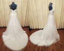 wedding photo - Vintage Sexy Elegant Off White Wedding Dress with Long Train and Glass Bead and Embroidered Details