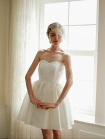 wedding photo - Ivory wedding dress, bridal dress, wedding mini dress, prom dress, bridal reception dress - style 1102