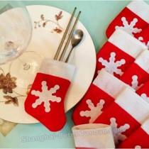 wedding photo - Beter Gifts® #Christmas Day BETER-HH108 Snowflake Socks #Cutlerybag #Xmas #PartyDecoration #Cutleryfavorbag
