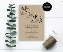 wedding photo - Mr. and Mrs. Wedding Invitation - Wedding Invitation Template - Editable Template - Editable Text - Downloadable Wedding